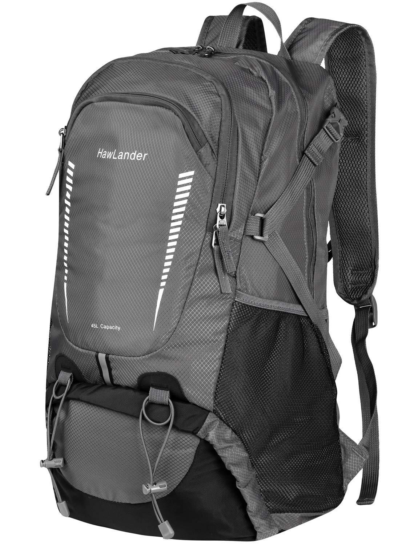 HawLander Hiking Backpack Packable Travel Daypack,Lightweight,Large 45L (Grey, 45L)