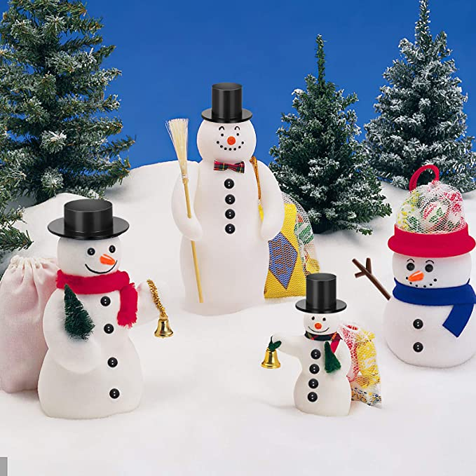 Six Christmas 1.0 inch Round 3M Rubber Magnets Frosty The Snowman Set of 6