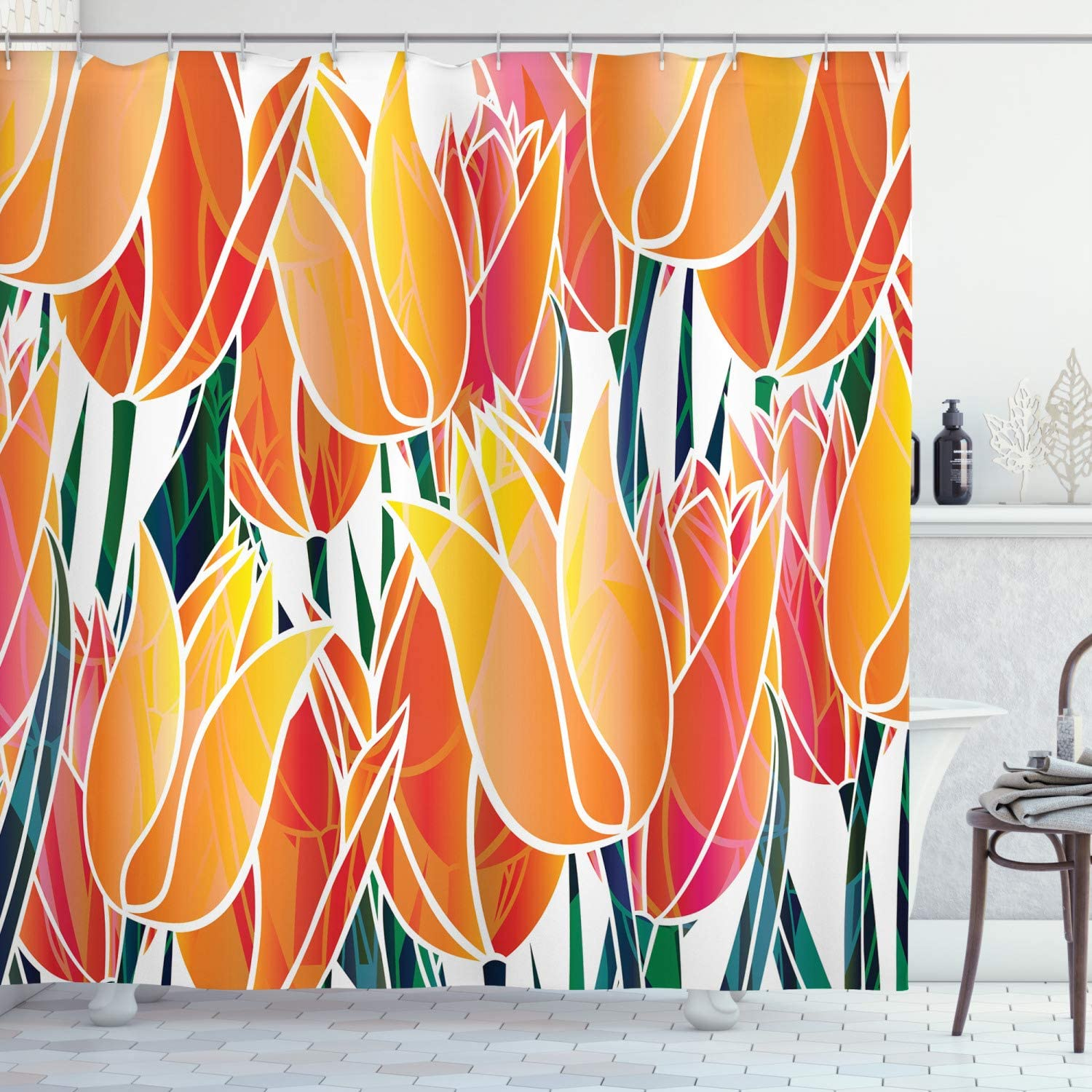 Ambesonne Tulip Shower Curtain, Exquisite Flourishing Tulip Garden with Vivid Colored Endless Petals Eco Illustration, Cloth Fabric Bathroom Decor Set with Hooks, 70