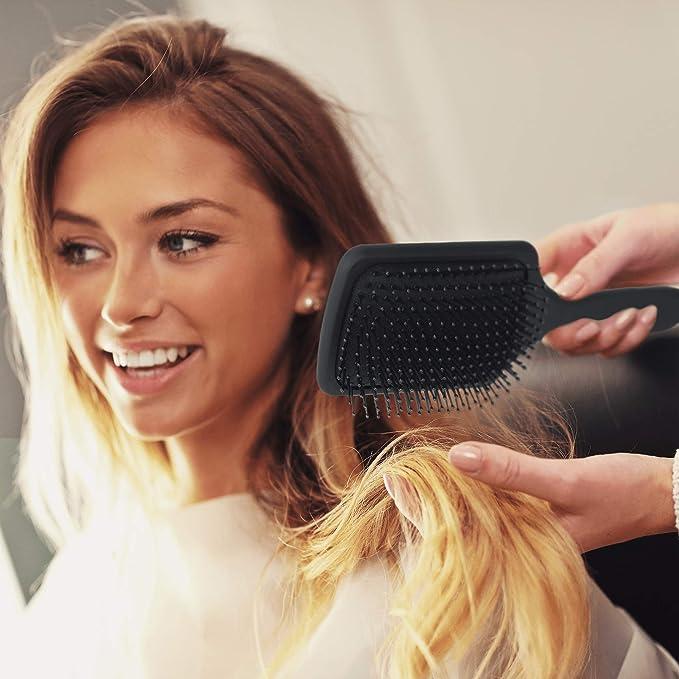 madameparis madameparis – Brocha plana – cepillo para el cabello de alta gama – Paddle Brush – Cepillo de peluquería – Cepillo profesional negro