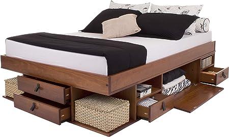 Memomad Cama Funcional Bali 160x200 cm - Estructura con Mucho Espacio de almacenaje y cajones, Ideal para dormitorios pequeños - Cama de Madera Maciza ...