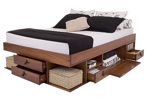 Cama funcional Bali - Estructura con espacio de almacenaje y cajones, ideal para dormitorios pequeños - Cama moderna de madera maciza de pino - Precio ...