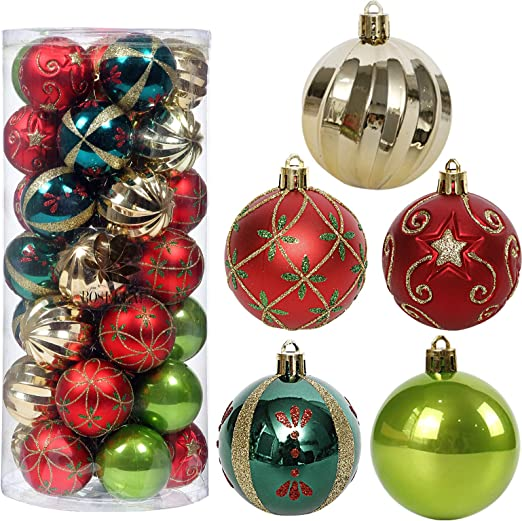Amazon Com Christmas Tree Ornaments 35ct Christmas Ball Decoration Set 2 36 Red Green And Gold Christmas Ball Shatterproof Hanging Tree Ornament Set Kitchen Dining