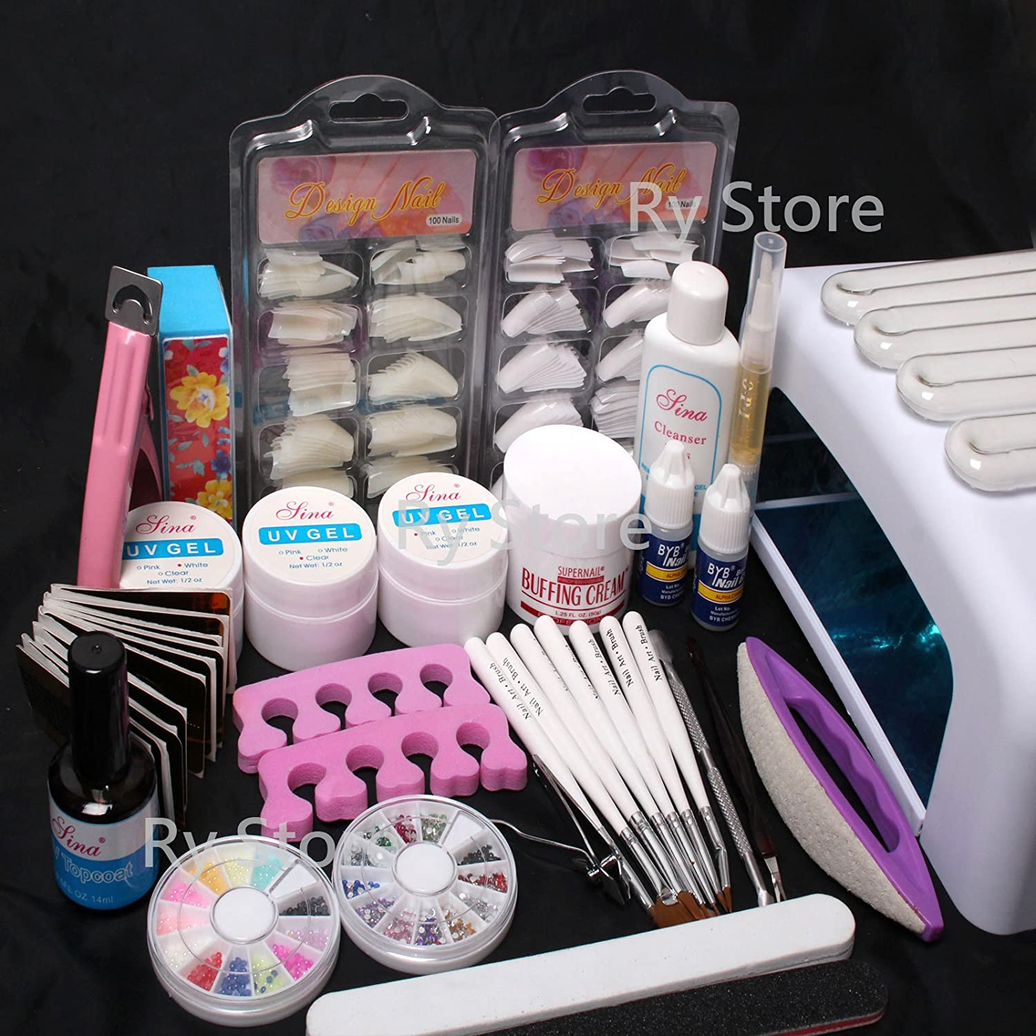 Amazon 25 in 1 professional nail art uv gel kit 36w uv lamp amazon 25 in 1 professional nail art uv gel kit 36w uv lamp timer dryer brush buffer tool cuticle pusher sand block files side clipper top coat nail prinsesfo Image collections