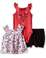 Calvin Klein Baby Girls' Printed Top, Solid Bodysuit and Short Set