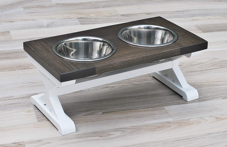Small Farmhouse Dog Bowl Stand