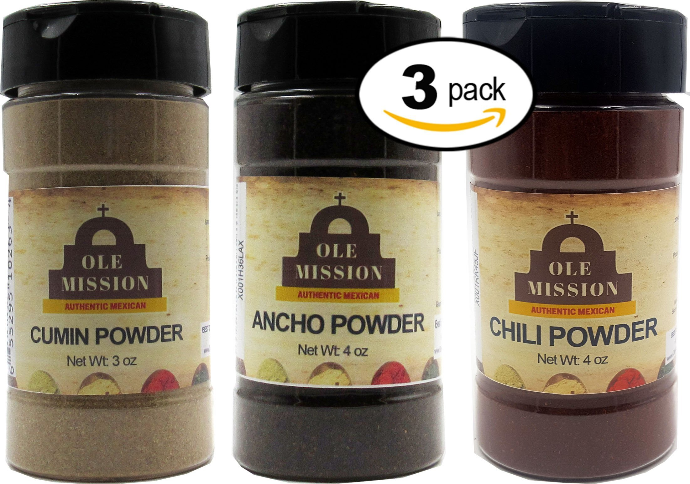 Cumin, Ancho, Chili Powder 3 Pack Mexican Cooking Bundle - Great For Tacos, Rubs, Pork, Mole, Fajitas, Menudo, Chorizo by Ole Mission