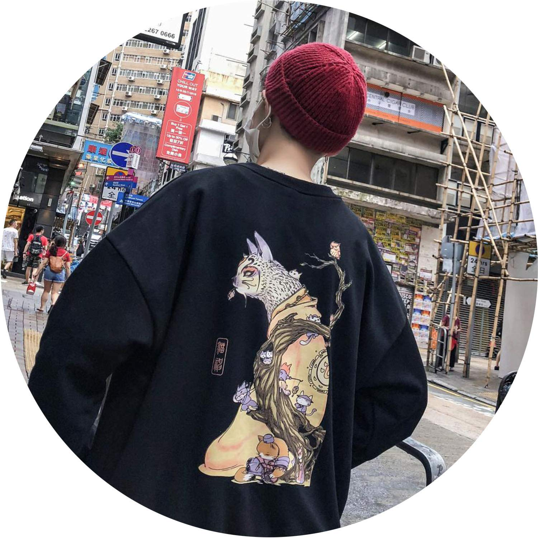Black(Asian Size) XLarge colorful Dream Embroidery Funny Cat Sweatshirt 2019 Harajuku Print ONeck Hiphop Windbreaker