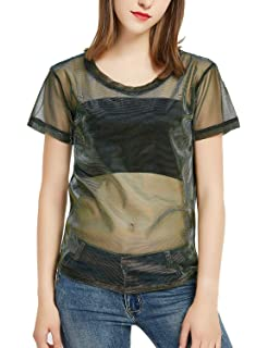 a1975218 Mirawise Women's Holographic Mesh Shirts Metallic Shimmer Sexy See Through  Shiny Sheer Tops