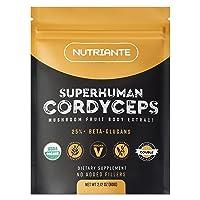 Energizing Organic Cordyceps Mushroom Powder – 100% Pure Cordyceps Militaris Extract – Performance Mushrooms Help Boost Stamina, Fight Fatigue, and Support Heart Health by Nutriante, 2.12 oz
