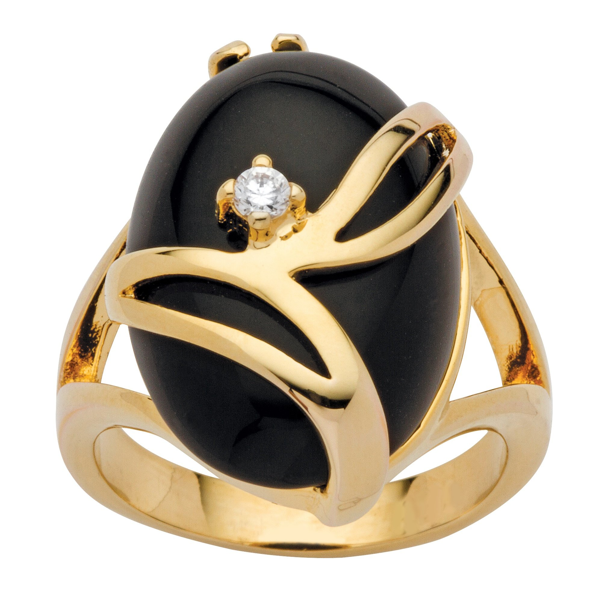 Palm Beach Jewelry 14K Yellow Gold-Plated Oval Shaped Natural Black Onyx Round Crystal Ring Size 6