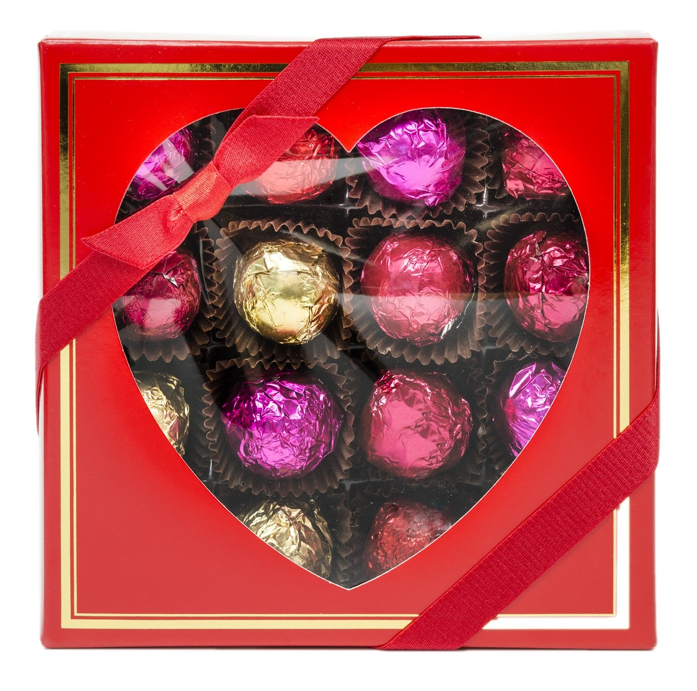 Truffles in Red Box with Heart Window and Gold Border, 16pc