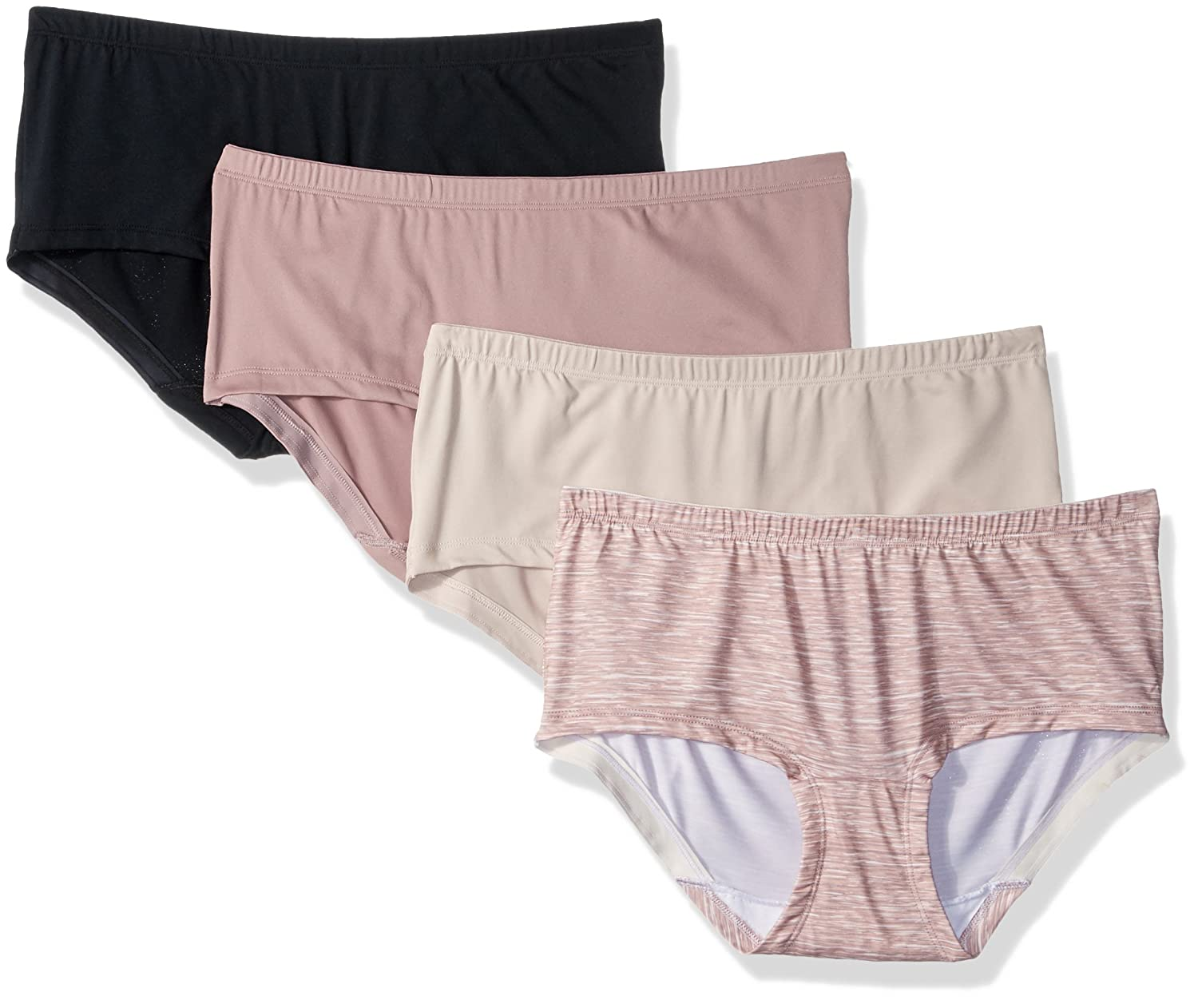 Fruit of the Loom Women's 4 Pack No Ride up Boyshort Panties 4DMNRBS