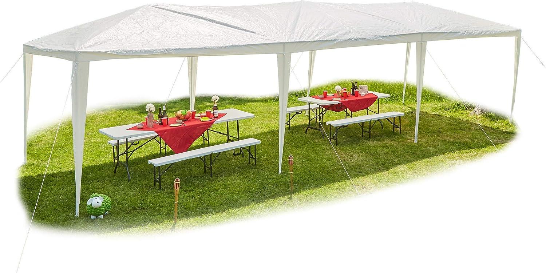 Relaxdays, Laterales, Blanco Carpa XL, Cenador para jardín, PE, Acero, 300x900 cm: Amazon.es: Jardín