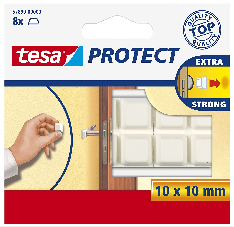 tesa UK Protect Self Adhesive Pads, Square - White, 8 Pads 57899-00000-00