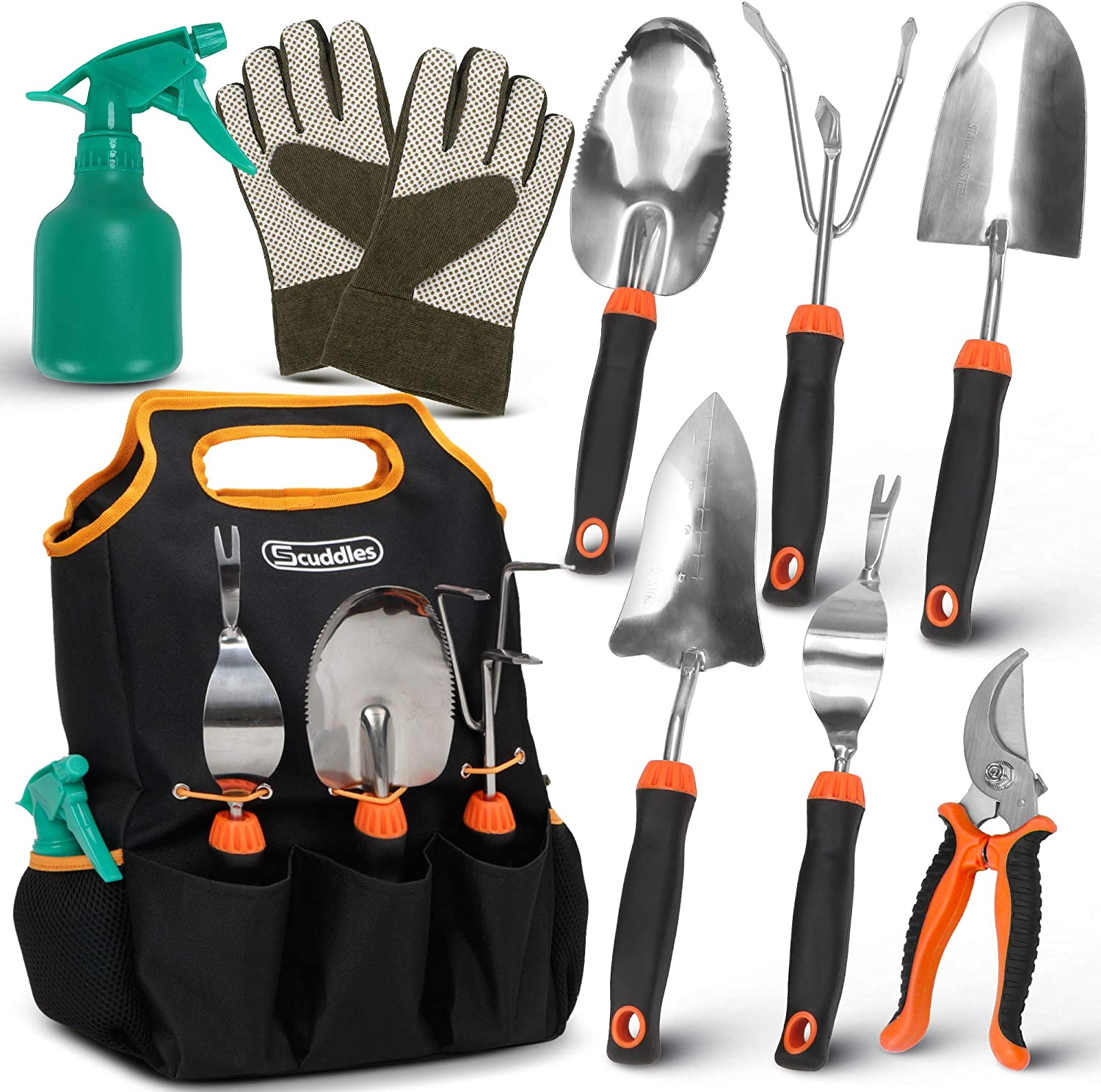 Scuddles 9 Piece Stainless Steel Heavy Duty Garden Tools Set, with Non-Slip Rubber Grip, Storage Tote Bag, Outdoor Hand Tools, Garden Gift, Black and Orange |