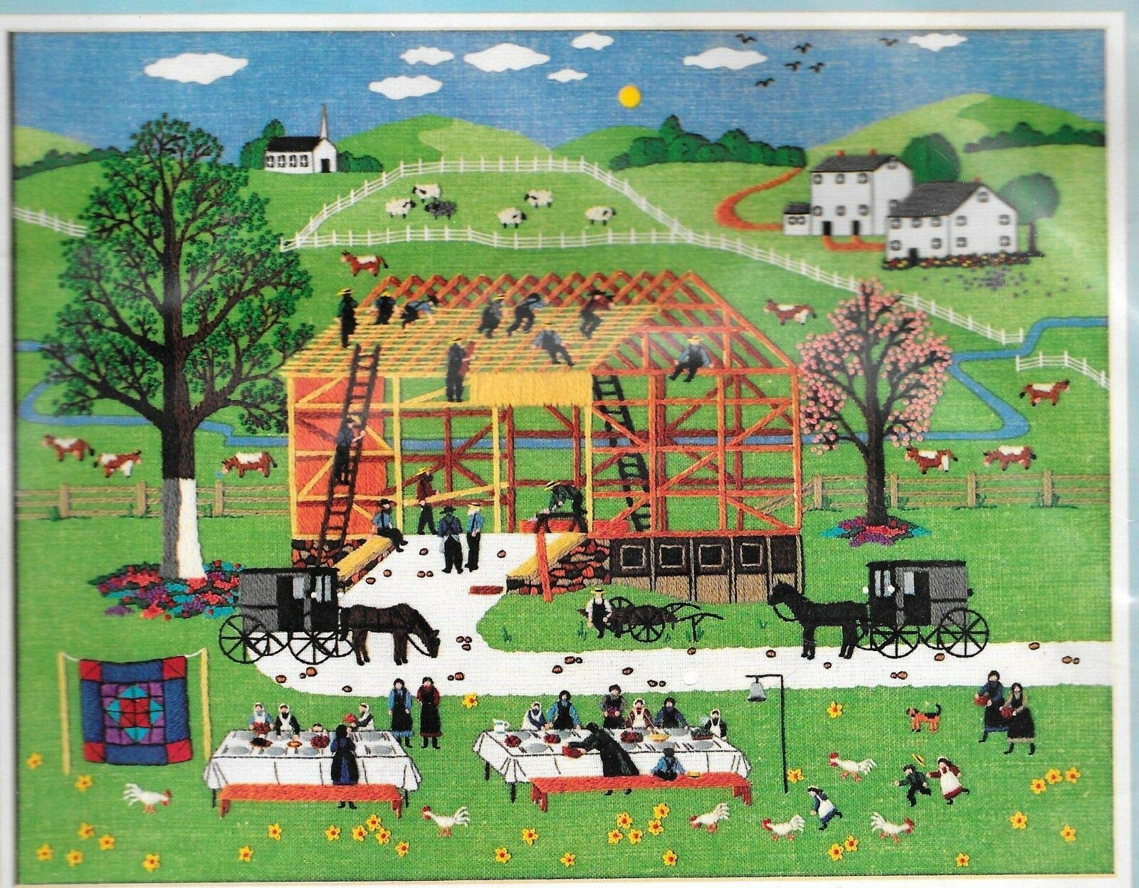 Dimensions Charles Wysocki Crewel Kit #1304 Amish Barn Raising. 1985 Vintage/Discontinued by Manufacturer by Dimension