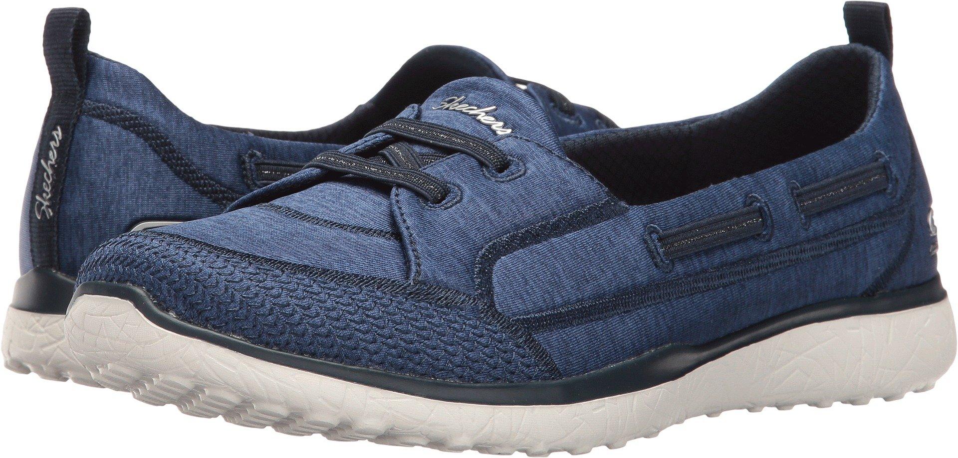 Skechers Microburst Topnotch Womens Slip On Sneakers Navy 9.5 W
