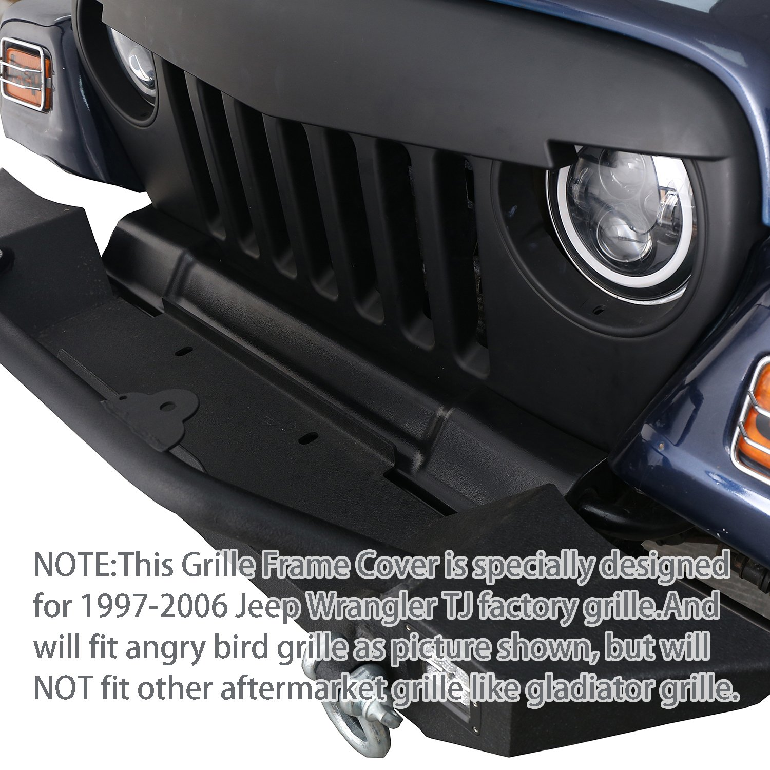 Hooke Road Abs Textured Black Front Grille Protects Jeep Wrangler Parts Frame Cover For 1997 2006 Tj Factory Grillewill Fit Angry Bird Shown