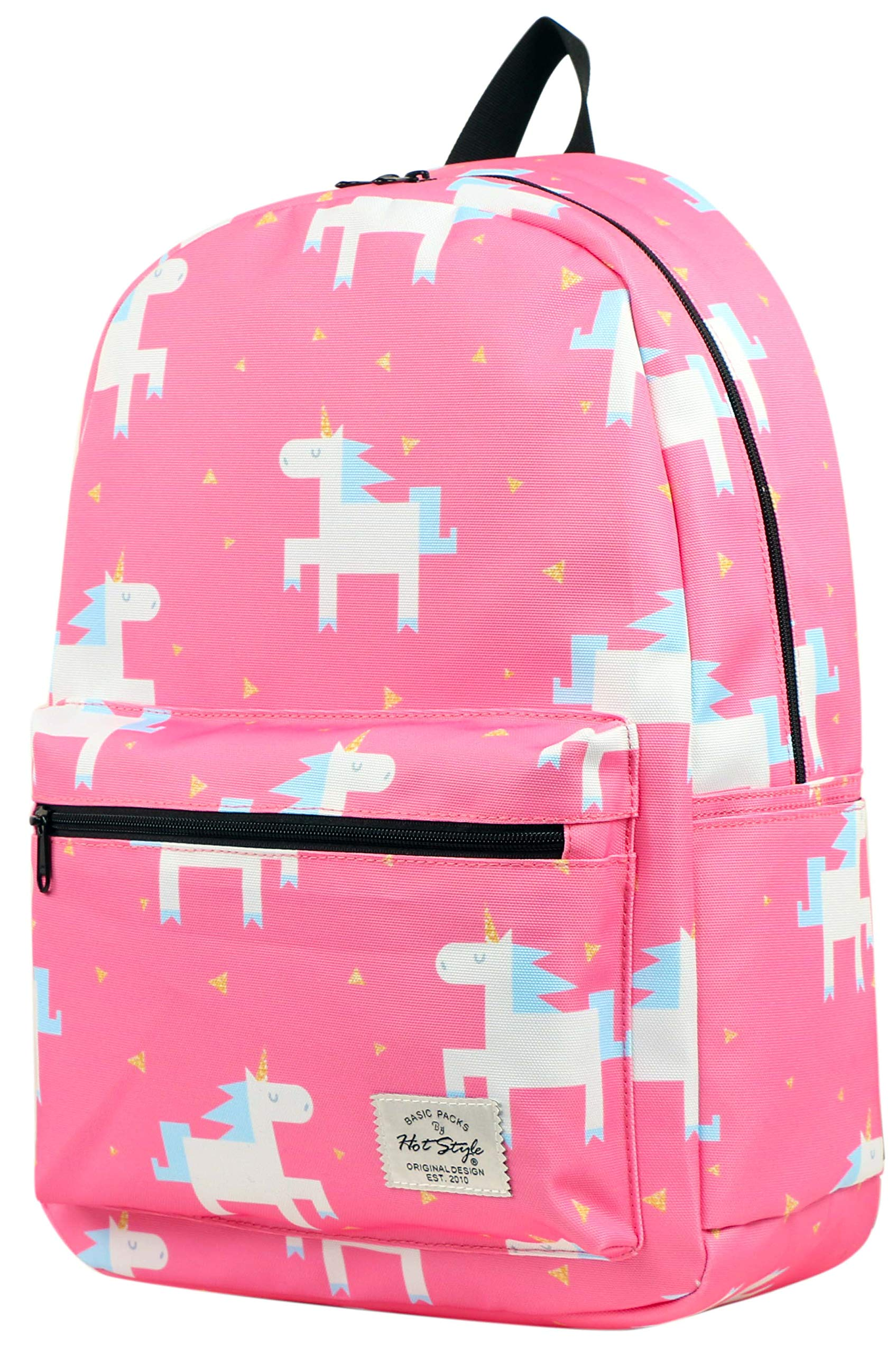 TRENDYMAX Backpack Cute for School | 16''x12''x6'' | Holds 15.4-inch Laptop | Uni-corns, Pink