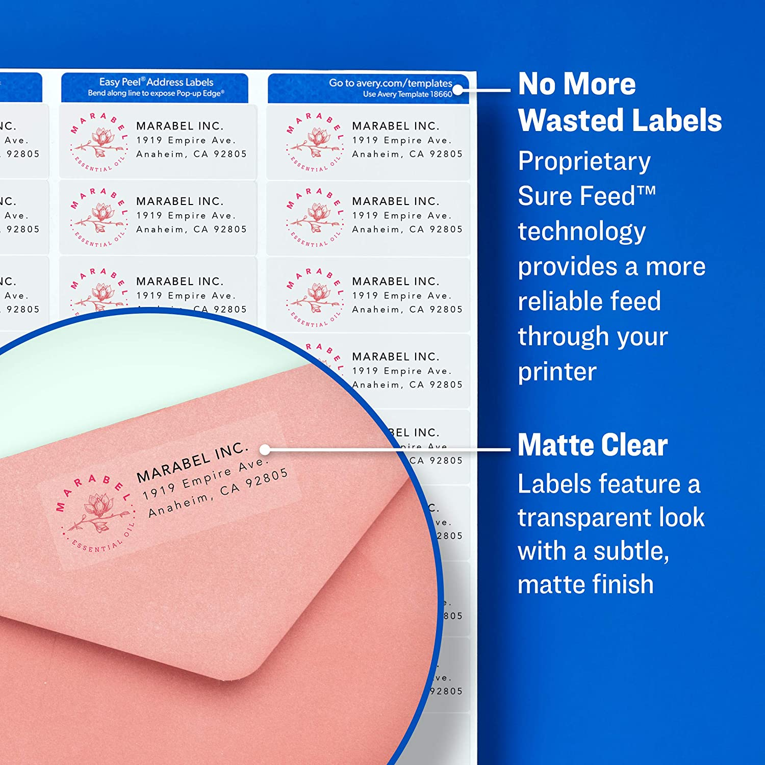 """Avery Matte Frosted Clear Address Labels for Laser Printers, 1"""" x 2-5/8"""", 1, 500 Labels (5660) : Address Labels : Office Products"""