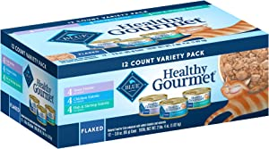 Blue Buffalo Healthy Gourmet Natural Adult Flaked Wet Cat Food Variety Pack Tuna, Chicken, Fish & Shrimp 3 Oz cans (12 count- 4 of each flavor)