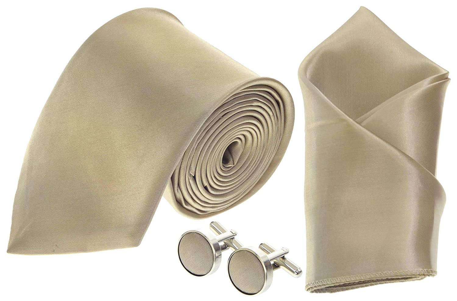 06e2e2543219 Champagne Gold Men's Matching Ties, Cufflinks & Pocket  Square/Hanky/Handkerchief Sets *UK Seller*: Amazon.co.uk: Clothing