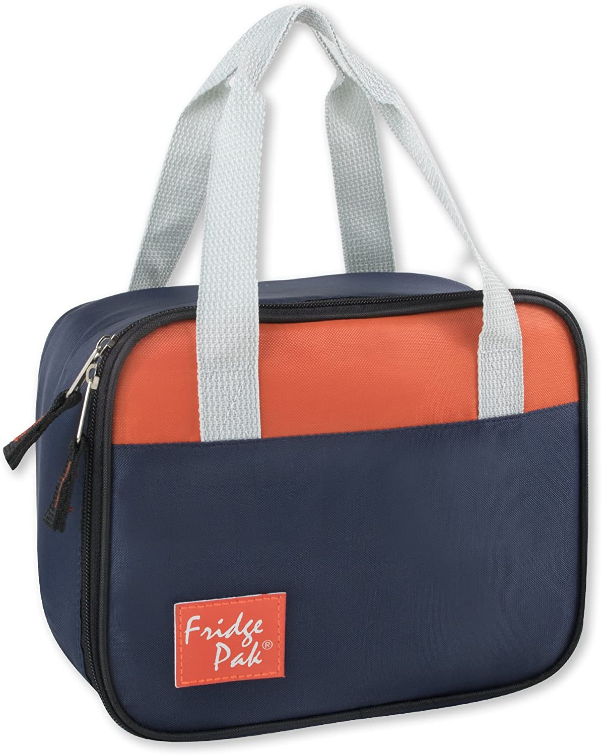 Fridge Pak Insulated Lunch Box Totes with Reinforced Carry Handles and Wide Zipper Opening