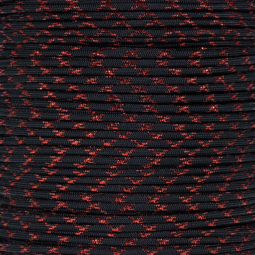 PARACORD PLANET 10 20 25 50 100 Foot Hanks and 250 1000 Foot Spools of Parachute 550 Cord Type III 7 Strand Paracord (Red Knight 25 Feet)