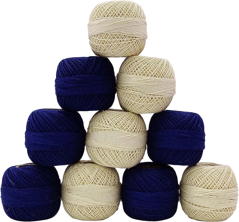 IBA Indianbeautifulart 10 Piezas de algodón Mercerizado Ganchillo ...