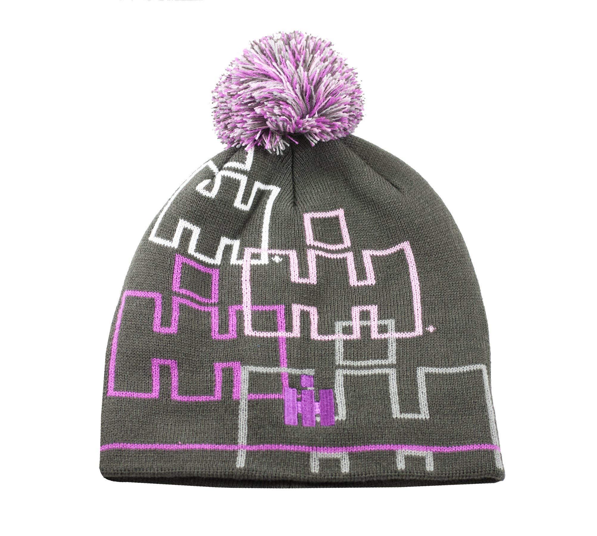 International Harvester IH Youth Jacquard Gray & Pink Pom Pom Knit Hat - Officially Licensed