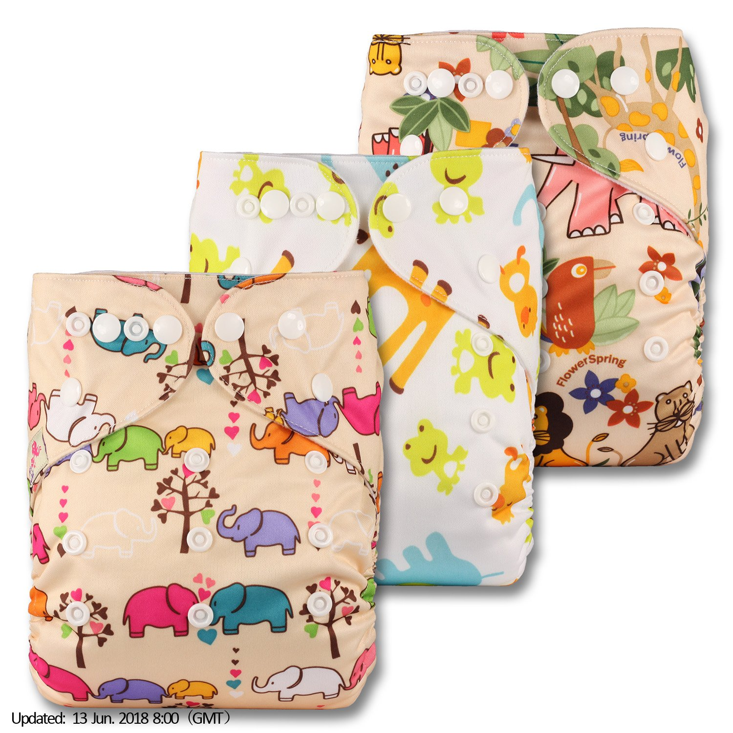 Set of 3 with 3 Bamboo Inserts Reusable Pocket Cloth Nappy Patterns 315 Fastener: Popper Littles /& Bloomz