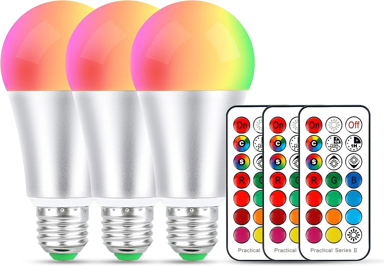10W Ampoules LED Couleur,B22 LED Dimmable Changement de couleur Ampoule,12 choix de couleur pour Accueil//D/écoration//Bar//F/ête//KTV Humeur /Éclairage ambiant,2 Pack