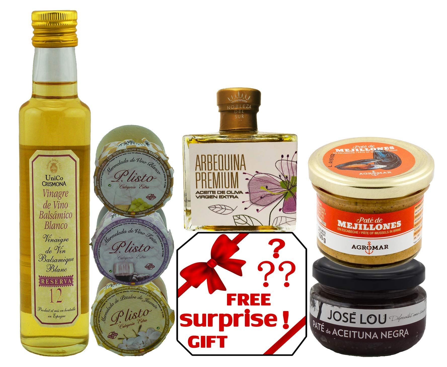 GIFT BASKET-IMPORTED FROM SPAIN-GOURMET FOOD-7 PREMIUM ARTISAN PRODUCTS - XTRA VIRGIN OLIVE OIL- BLACK OLIVE Pâté - 3 HOMEMADE JAMS-MUSSEL Pâté - WHITE BALSAMIC VINEGAR-SURPRISE GIFT. CHEF OLE MIRO
