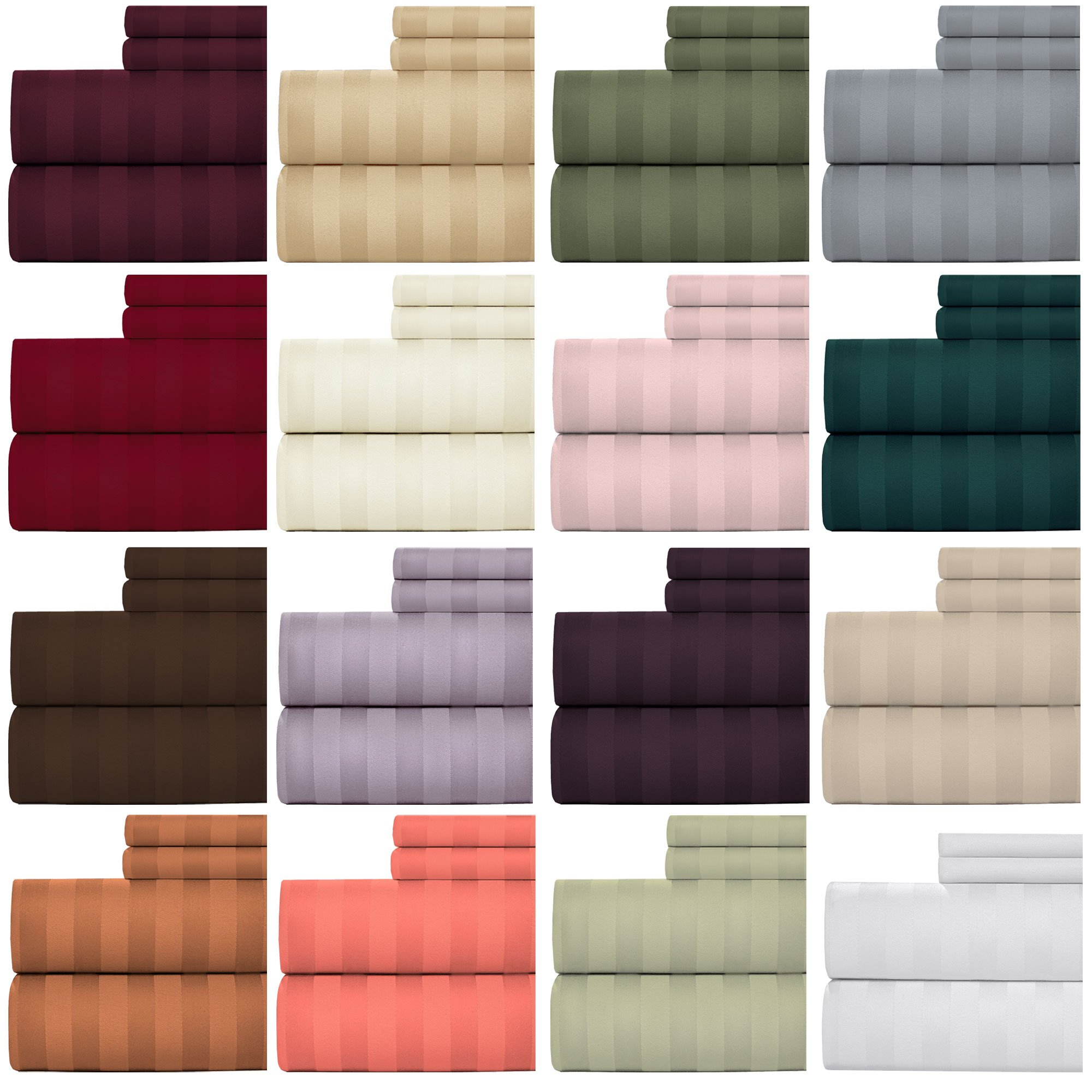 Weavely Bedsheet 100% Cotton 600 Thread Count Damask Stripe Sheet Set, 4 Piece Hotel Quality Sheets, 15 inch Elastic Deep Pocket Fitted Sheet (King, Plum)