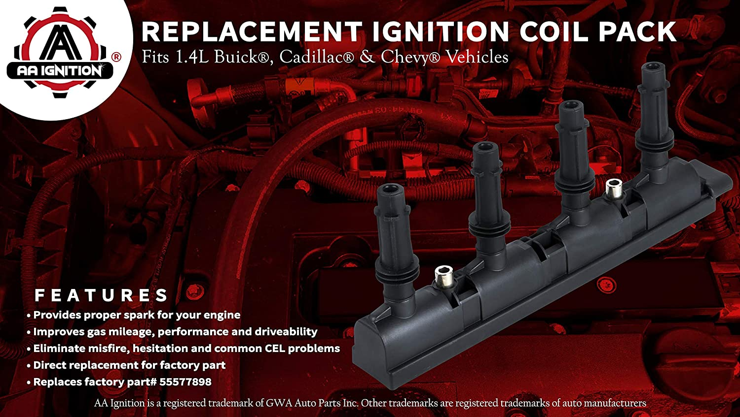 Trax Cruze Limited Volt 55579072 Chevrolet Cruze UF669 Cadillac ELR 55577898 Sonic Replaces D521C Ignition Coil Pack 25198623 C1810 Turbo and Electric Vehicles Fits 1.4L Buick Encore