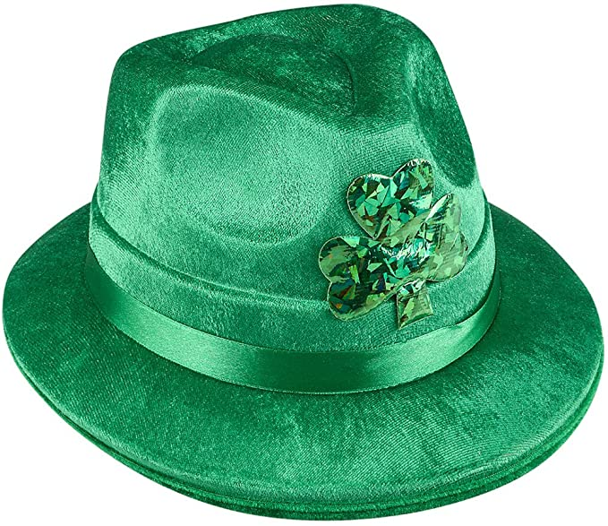 63003fd2522fa Image Unavailable. Image not available for. Color  Rhode Island Novelty  Adults Saint Patrick s Day Irish Shamrock Velvet Fedora Hat Costume  Accessory Green