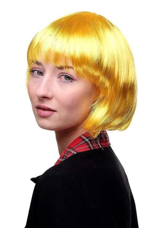 Wig Me Up Vk Event Fashion Perruque Jaune Carré Plongeant Sexy Style Disco Go Go Idéal Pour Soirée