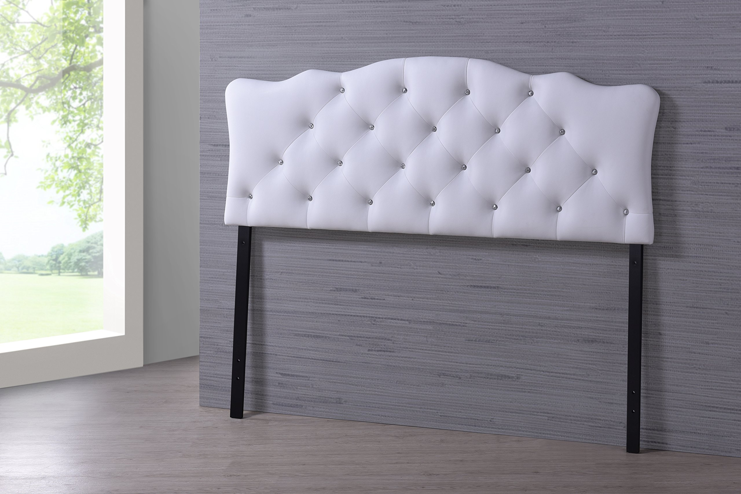 Baxton Studio Wholesale Interiors Rita Modern and Contemporary Faux Leather Upholstered Button-Tufted Scalloped Headboard, Full, White