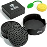 Coasters for Drinks With Holder - Set of 6 Black in Gift Box + Bonus Tea Infuser. VALUE PACK! Silicone - Large Size 4.3 inch- Protect All Furniture From Damage. Best Offer - Perfect Gift!