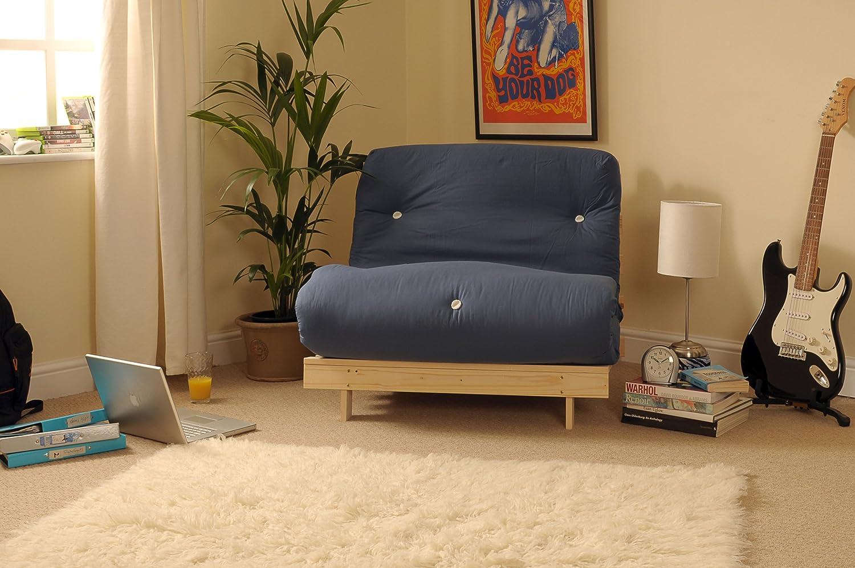 Comfy Living 2ft6 Small Single Wooden Futon Set NAVY Mattress