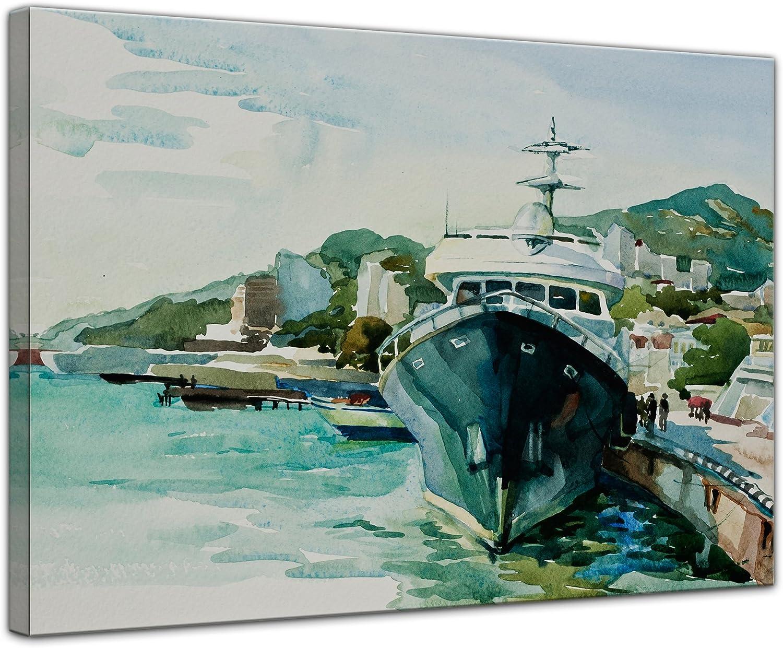 Bilderdepot24 Cuadros en Lienzo Lámina Reproducción Acuarela el Puerto de Yalta 40 x 30 cm - Listo tensa, Directamente Desde el Fabricante: Amazon.es: Hogar