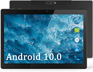 Tablet 10 Inch Android 10.0 OS with 32GB Storage, 5MP Rear Camera, Quad Core 1.6GHz, WiFi Tablet, Bluetooth, GPS, HD Touchscreen, Google Certified (Black)