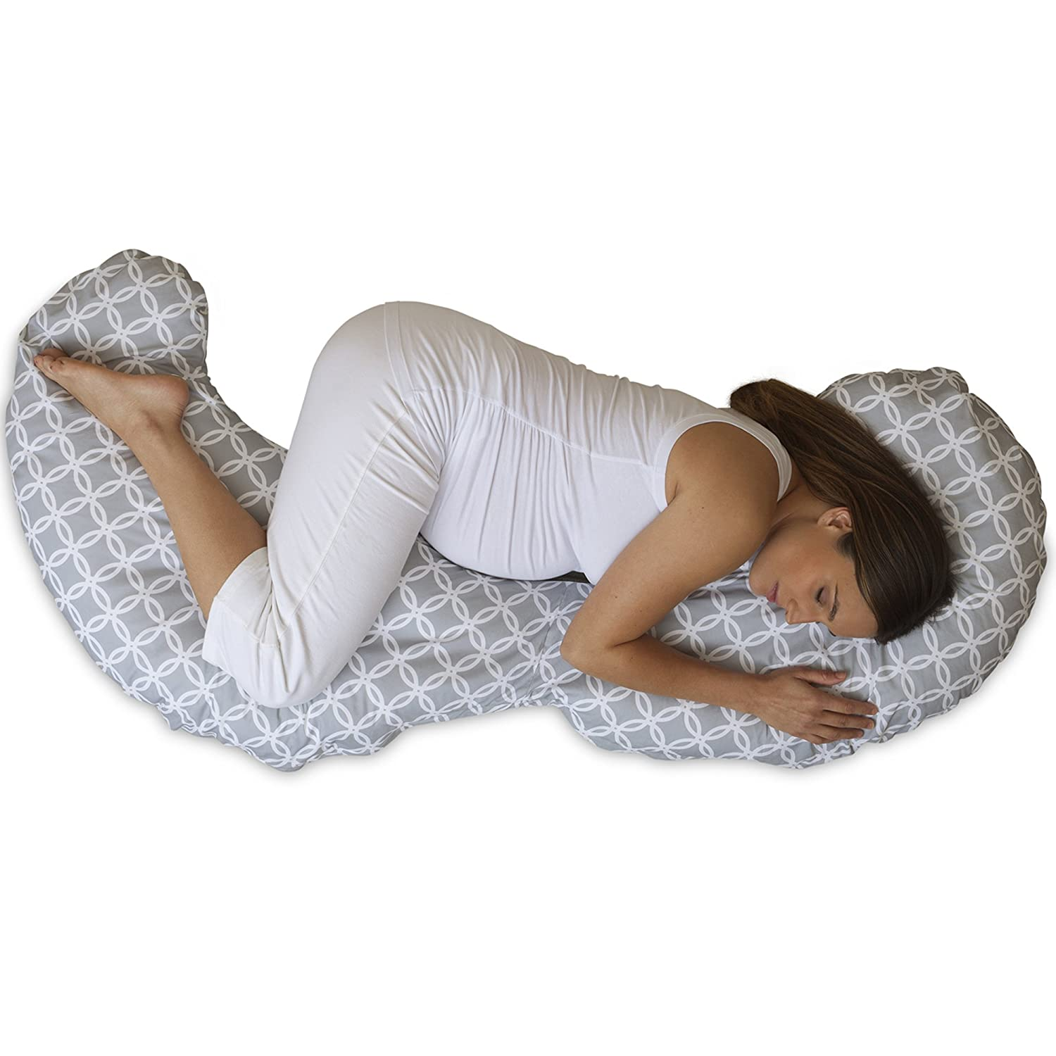 B07PW9PBPW Boppy Slipcovered Total Body Pregnancy Pillow, Gray/White 8131wA2BQWTL