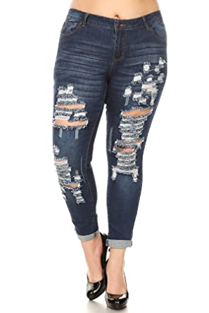 c1e578e6d1b wax jean Plus Size Women s High Waist Distressed Skinny Jeans at ...