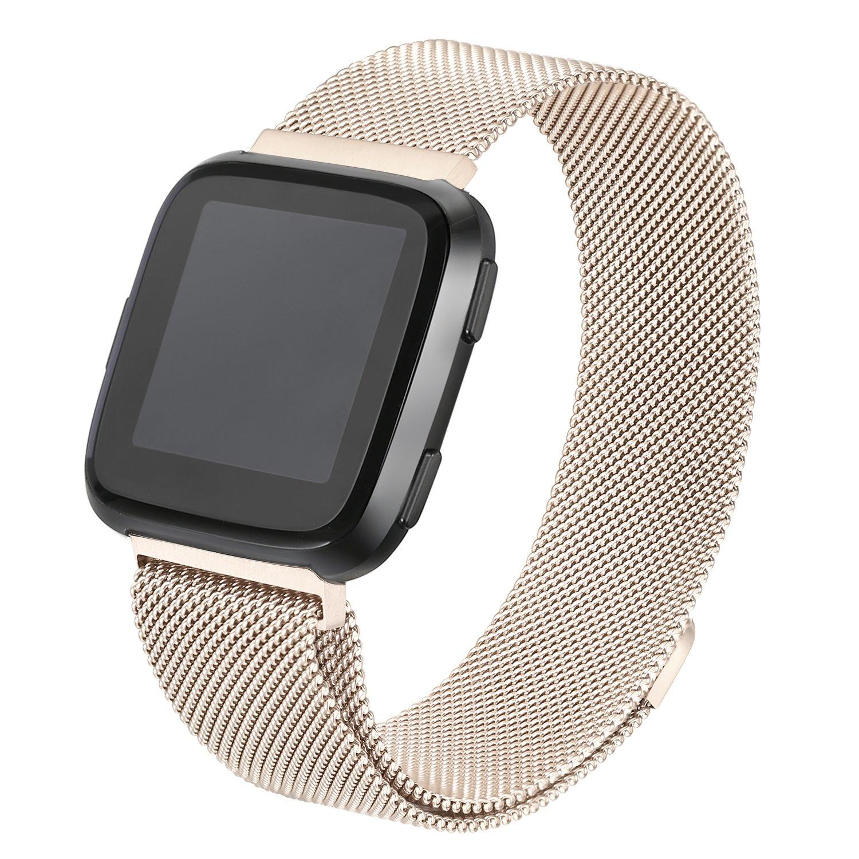 bayite for Fitbit Versa帯、ミラネーゼループメッシュスポーツバンドステンレススチール金属リストバンドwith Magnetic Clasp Closure forフィットビットVersa Smartwatchメンズレディース 6.7''-8.1'' シャンパン シャンパン 6.7''-8.1'' B07BN7FXVY