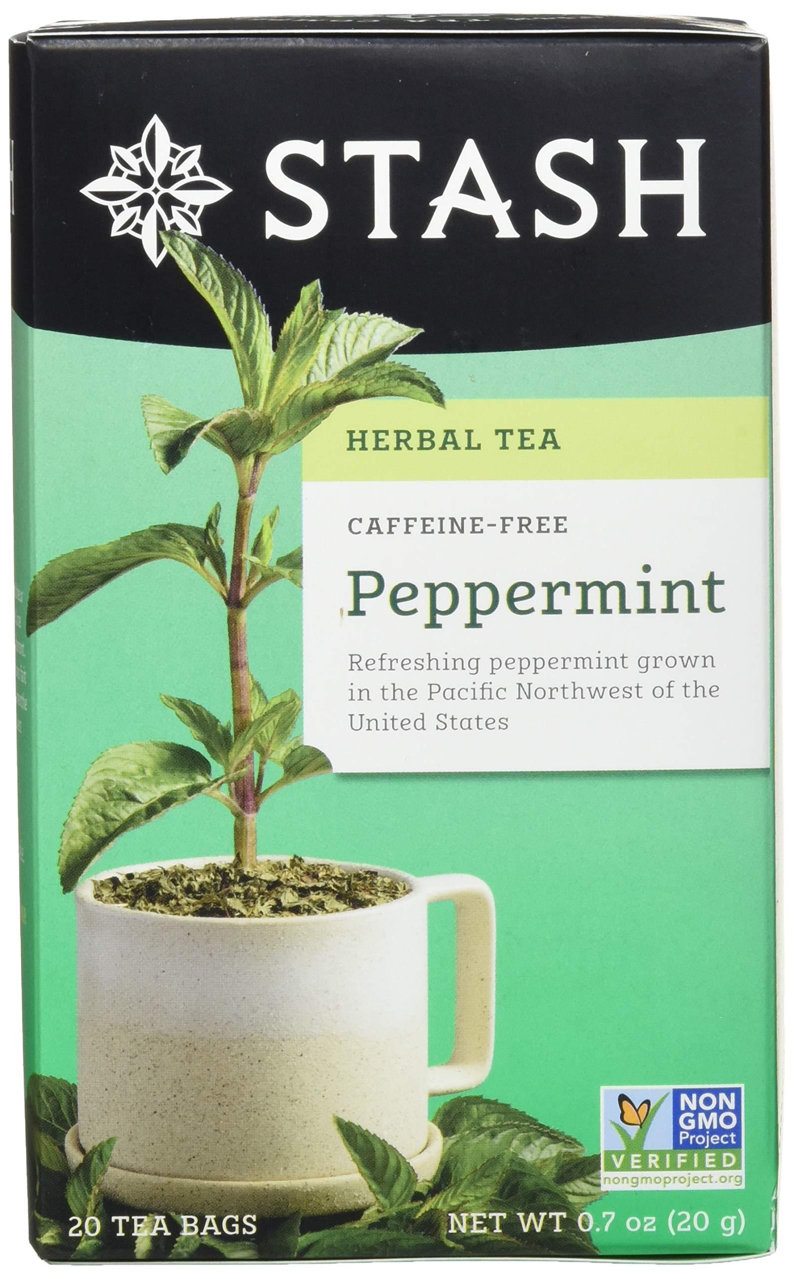Stash Tea Peppermint Herbal Tea 20 Count Tea Bags in Foil 0.7 oz (Pack of 6), Premium Herbal Tisane, Minty Refreshing Herbal Tea, Enjoy Peppermint Tea Hot or Iced by Stash Tea