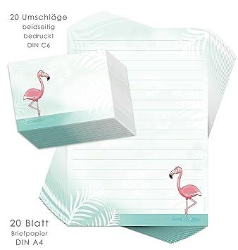 Juego de papel de cartas para niños Flamingo 20 hojas DIN A4 ...