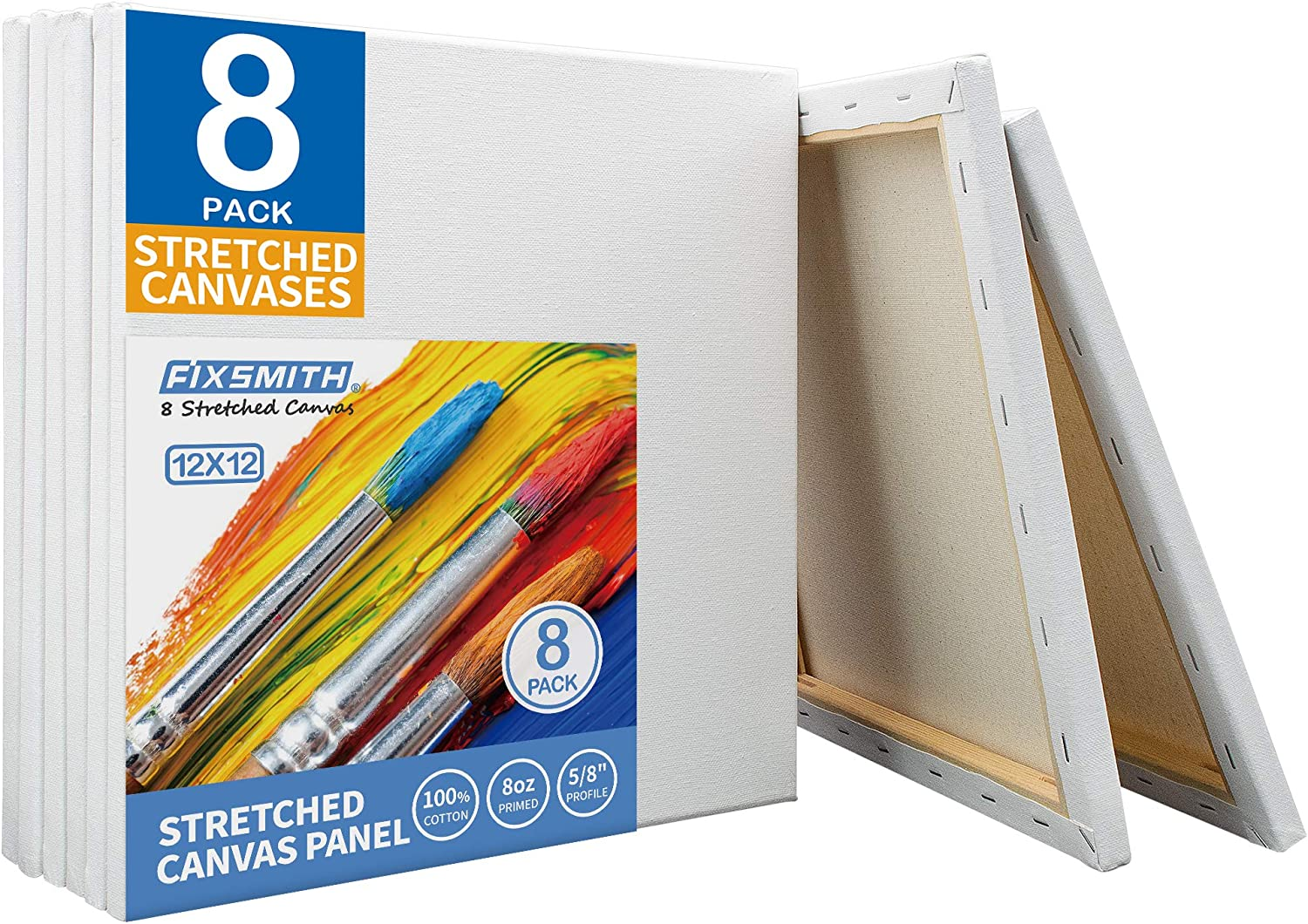 Stretched Canvas Artist Quality Oil Acrylic White 3 to 20 PACK lot ALL SIZES NEW