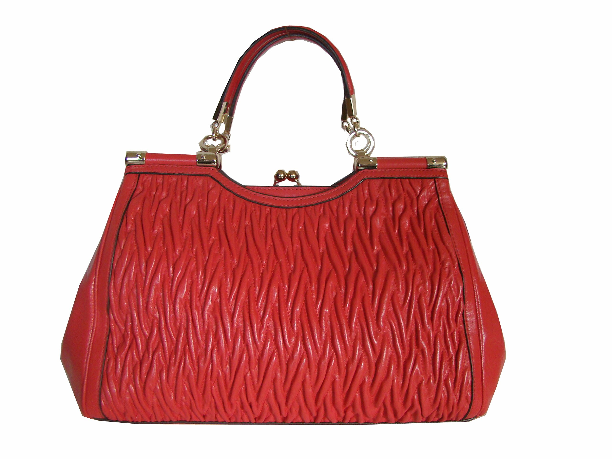Coach Madison Leather Gathered Twist Carrie Satchel Bag 27681 Love Red